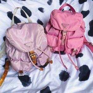 Vintage Pastel Prada Backpacks in Purple and Pink